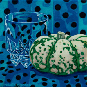 Blue Polka Dots with Green and White Pumpkin