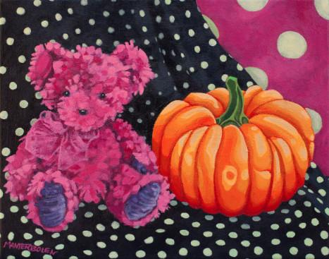 Pink Bear with Pumpkin