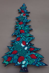 Sparkling Blue Tree with Red Birds